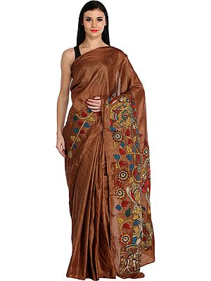 Thrush-Brown Plain Sari from Chennai with Kalamkari Floral Applique and Depicting Rama Durbar on Pallu