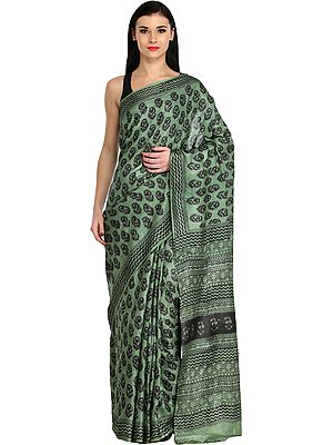 Mineral-Green Sari with Block Printed Bootis and Zigzag Border