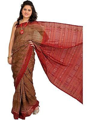 Coffee-Liqueur Ikat Handloom Sari from Sambhalpur
