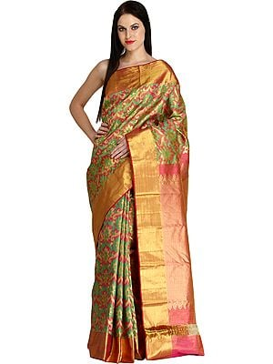 Pink and Green Super-Fine Tissue Sari from Bangalore with Hand-woven Flowers and Golden Border