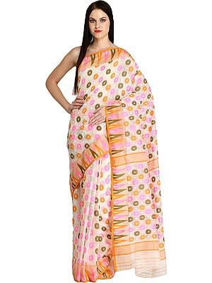 Ivory Purbasthali Jamdani Sari from Bengal with Woven Bootis and Temple Border