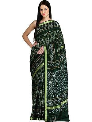 Bistro-Green Bandhani Gharchola Sari from Jodhpur With Zari Weave