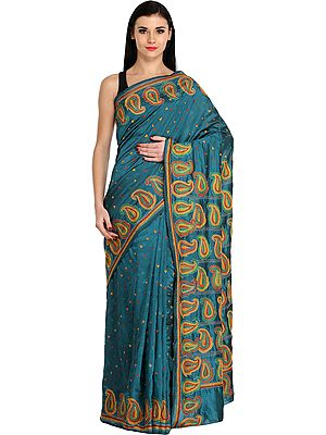 Celestial-Blue Kantha Sari from Kolkata with Hand-Embroidered Paisleys and Bootis