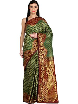 Green and Chocolate Wedding Sari from Bangalore with Woven Booits and Brocaded Pallu