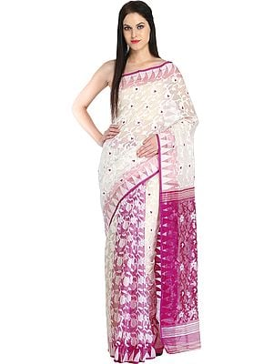 White and Purple Purbasthali Jamdani Sari from Bengal with Woven Flowers and Temple Border