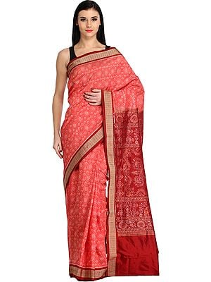 Spiced-Coral and Maroon Sambhalpuri Handloom Sari from Orissa with Ikat Weave