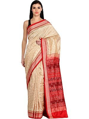 Cream and Red Sambhalpuri Handloom Sari from Orissa with Ikat Weave