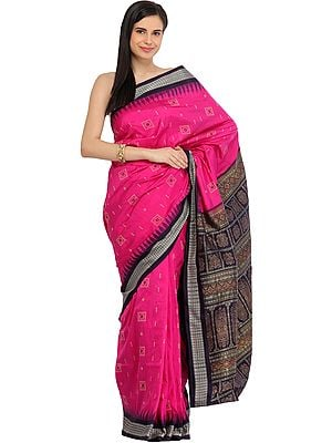 Pink and Dark-Purple Sambhalpuri Handloom Sari from Orissa with Bomkai Weave