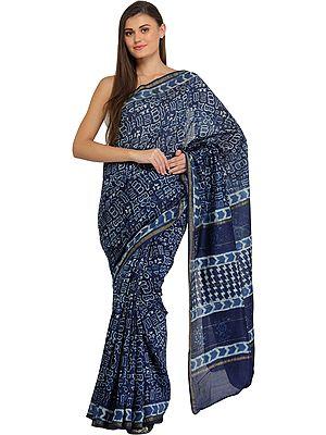 Twilight-Blue Batik Sari from Madhya Pradesh with Folk Motifs