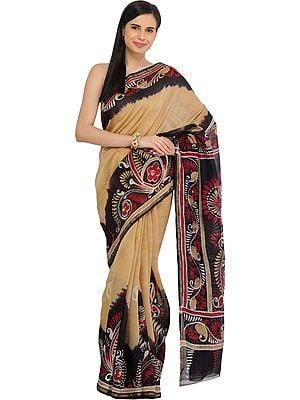 Italian-Straw and Black Batik Printed Sari from Madhya Pradesh with Paisleys on Border
