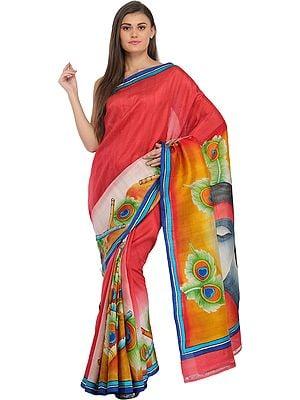 Claret-Red Digital-Printed Sari with Radha Krishna on Pallu