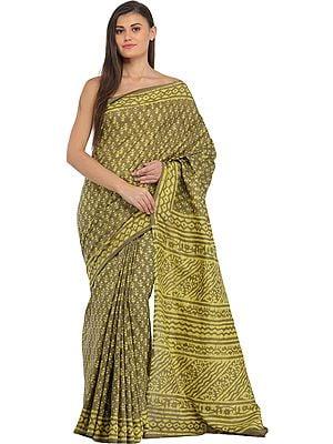 Gothic-Olive Bagdoo Block-Printed Sari from Madhya Pradesh