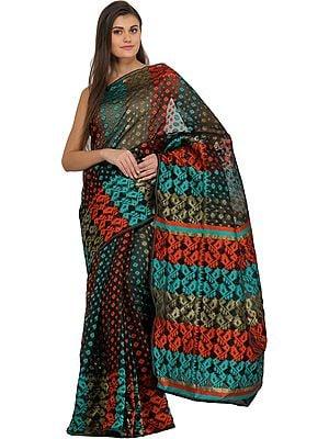 Jamdani Dhakai Sari from Bangladesh with Woven Motifs in Multicolor