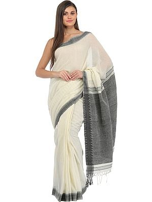 Ivory and Gray Purbasthali Sari from Bengal with Stripes and Zigzag Weave on Pallu