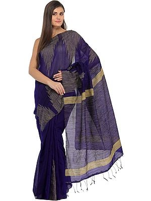 Deep-Blue Purbasthali Sari from Bengal with Woven Temple Border and Stripes on Pallu