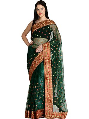 Antique-Green Designer Wedding Sari with Embroidered Floral Bootis and Patch Border