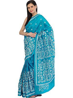 Hawaiian-Ocean Sari from Kolkata with Kantha Hand-Embroidery