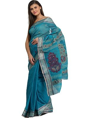 Vivid-Blue Purbasthali Tangail Sari from Bengal with Woven Floral Motifs on Pallu