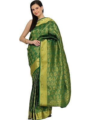 Forest-Green Brocaded Sari from Bangalore with Woven Bootis and Golden Border