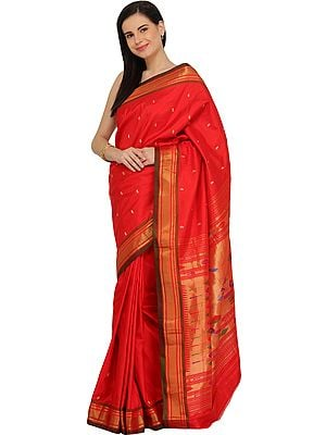 Poppy-Red Paithani Sari with Hand-Woven Peacocks on Pallu