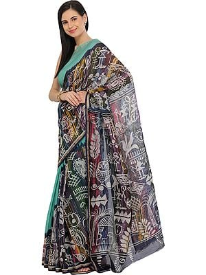 Blue-Turquoise Batik Printed Sari from Madhya Pradesh with Warli Folk Motifs