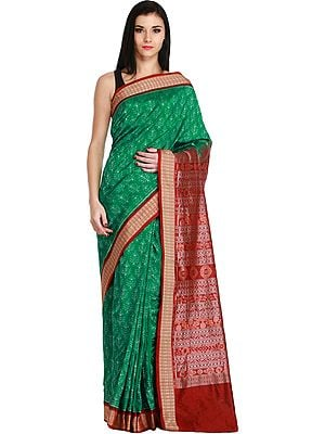 Green and Maroon Sambhalpuri Handloom Sari from Orissa with Ikat Weave