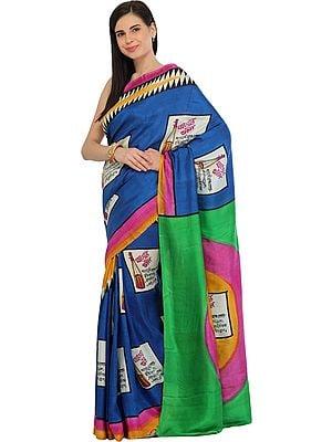Blue and Green Digital-Printed Sari from Kolkata