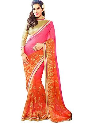Vibrant Pink and Orange Double-Shaded Designer Sari with Golden-Embroidery and Sequins