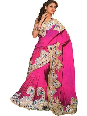 Sangria Designer Wedding Sari with Large Paisleys Border and Embroidered-Beads