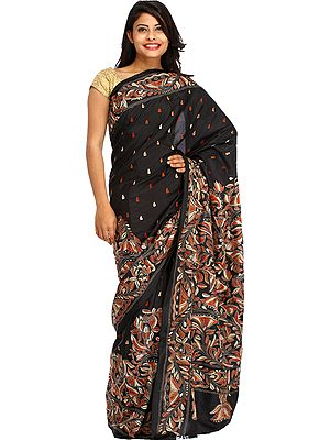 Jet-Black Sari from Kolkata with Kantha Hand-Embroidery All-Over