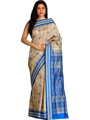 Gray and Blue Bomkai Sari from Orissa with Temple Border and Dense Weave on Pallu