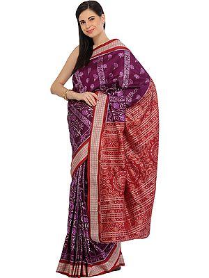 Purple and Maroon Bomkai Handloom Sari from Sambhalpur with Ikat Weave