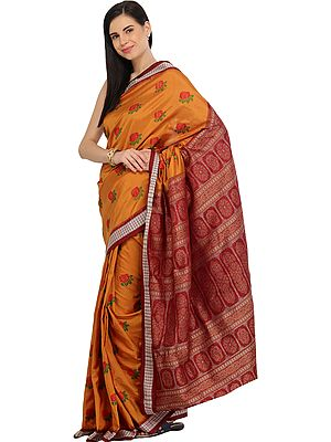 Honey-Yellow and Maroon Bomkai Handloom Sari from Orissa with Woven Roses and Dense Weave on Pallu