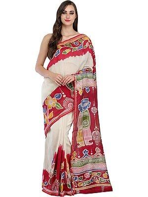 Ivory and Red Batik Jamini Roy Sari from Madhya Pradesh