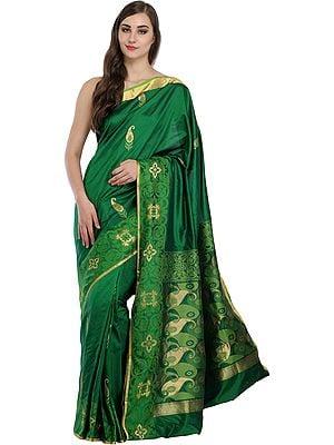 Fairway-Green Madhuri Sari from Bangalore with Woven Paisleys