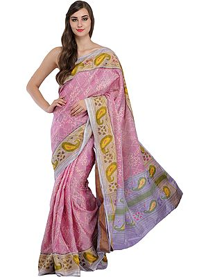 Mauve-Mist Ikat Handloom Paan-Patola Sari from Gujarat with Woven Paisleys