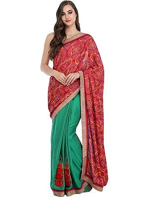 Red and Green Half and Half Bandhani Printed Sari with Embroidered Floral Patches and Gota Border