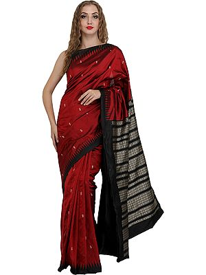 Maroon and Black Bomkai Handloom Sari from Orissa with Woven Fishes and Temple Border