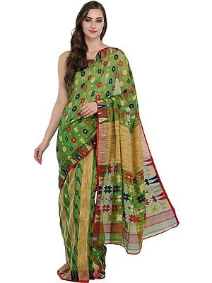 Meadow-Green Purbasthali Jamdani Sari from Bengal with Woven Bootis and Temple Border