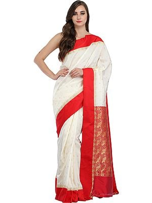 Ivory and Red Sari from Bangladesh with Woven Paisleys and Solid Border