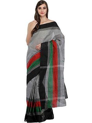 Wild-Dove Sari from Bangladesh with Woven Stripes