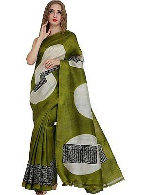 Cedar-Green Sari with Printed Sanatan Dharma Mantra