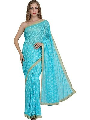 Sari from Punjab with Phulkari Embroidery in Self and Golden Border