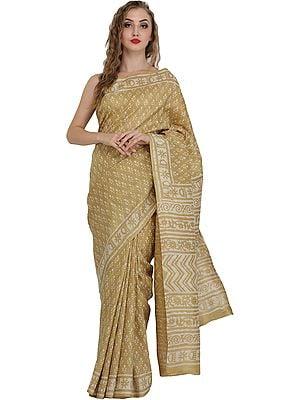 Silver-Fern Sari from Madhya Pradesh with Bagdoo Block-Printed Bootis