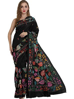 Jet-Black Sari from Kolkata with Kantha Hand-Embroidered Leaves