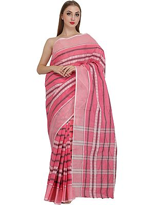 Confeti-Pink Tangail Sari from Bangladesh with Woven Paisleys and Stripes