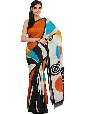 Multicolored Sari from Kolkata with Modern Print