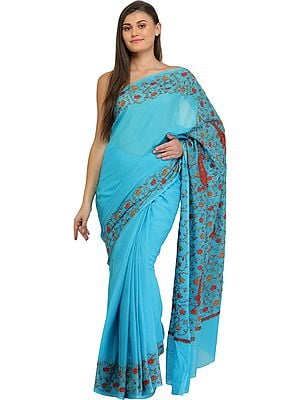Batton-Blue Kashmiri Sari with Needle Hand-Embroidered Lotuses