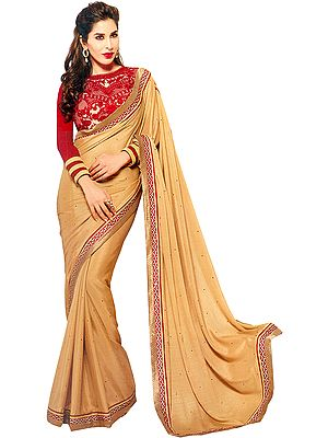 Beige and Red Designer Sari with Patch Border and Embroidered Blouse