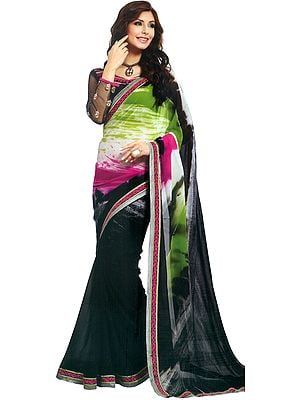 Multicolored Digital-Printed Sari with Patch Border and Embroidered Blouse